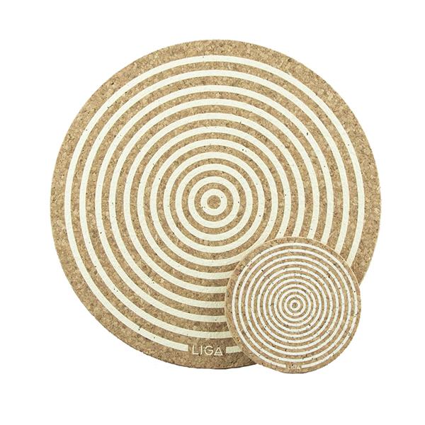Cream orbit cork placemat