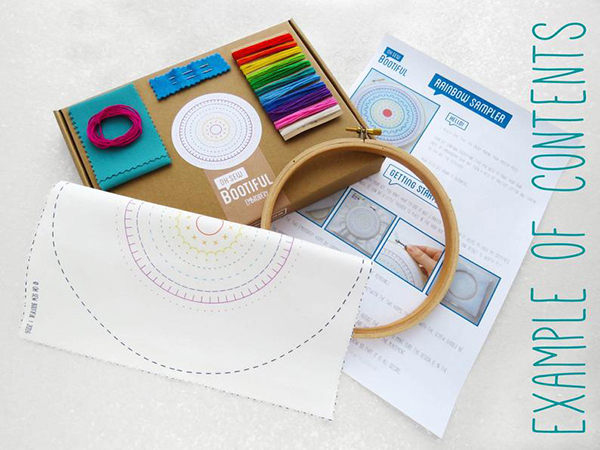 Doodle hand embroidery kit