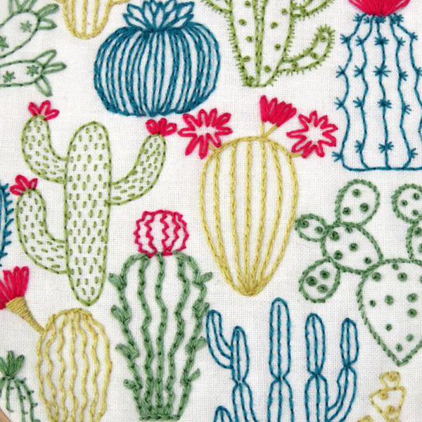 Cacti hand embroidery kit