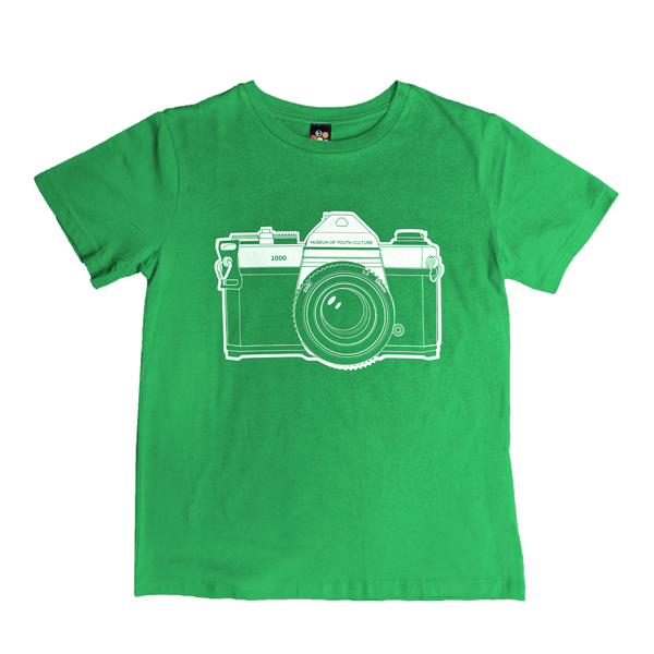Camera graphic green large cotton t-shirt