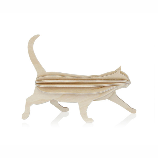 Natural wood cat flat pack construction kit