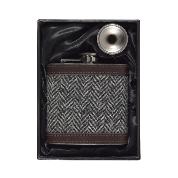 Charcoal Harris Tweed hip flask gift set