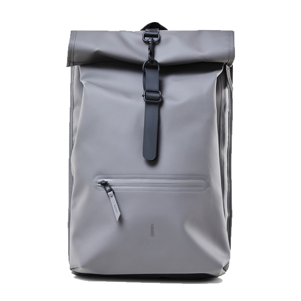 Waterproof charcoal light grey roll top backpack