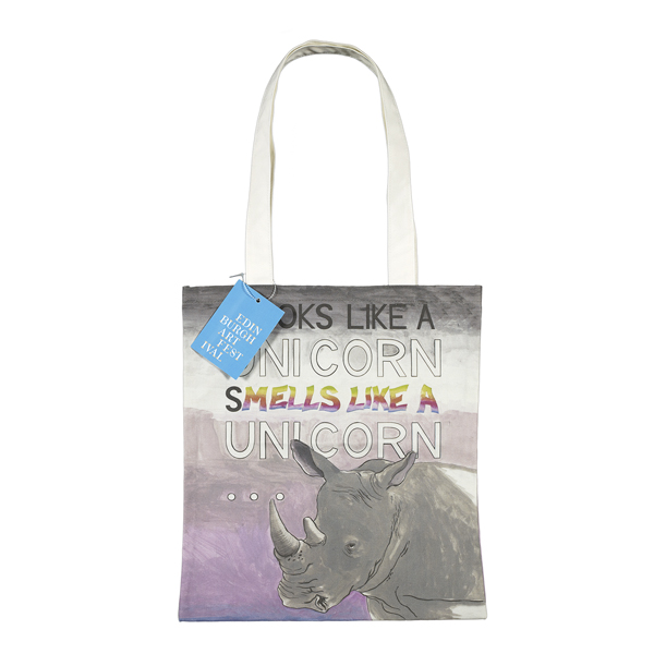 Unicorn by Charles Avery reusable canvas tote bag