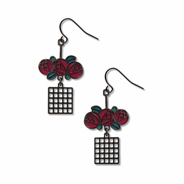 Charles Rennie Mackintosh lattice rose drop earrings