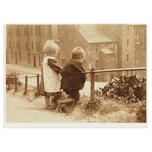 Children leaning on handrail, Dundee greeting card