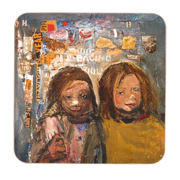 Children and chalked wall 3 by Joan Eardley coaster