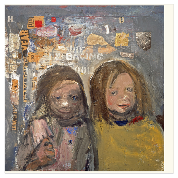 Children and chalked wall 3 by Joan Eardley greeting card