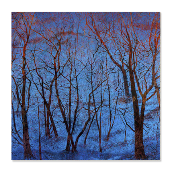 Blue Snow and Fiery Trees by Victoria Crowe Christmas card pack (10 cards)