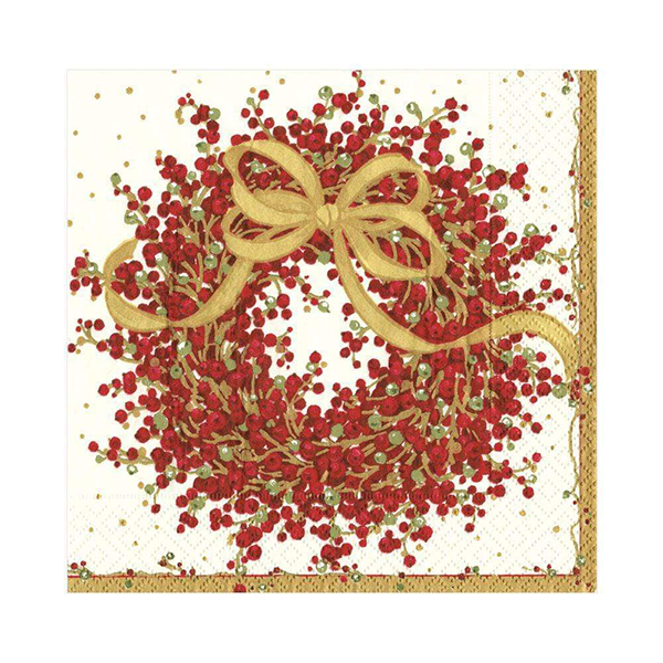 Christmas berry wreath napkin pack (20 napkins)