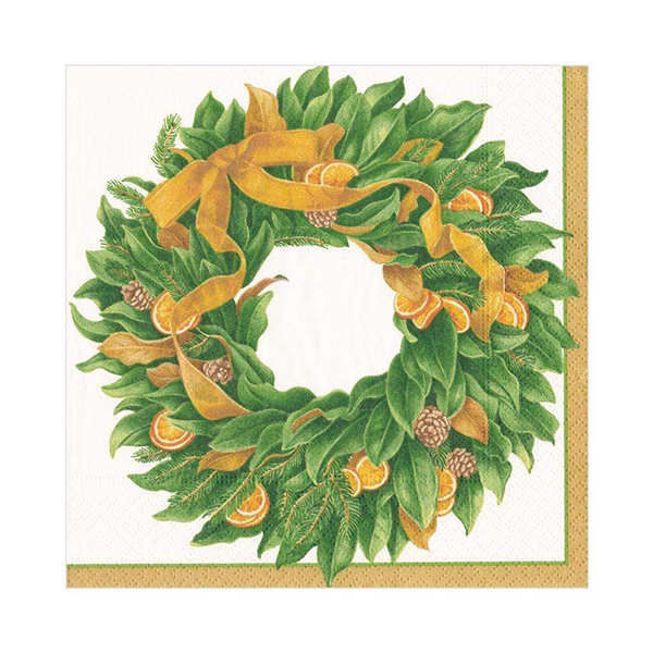 Christmas magnolia wreath napkin pack (20 napkins)