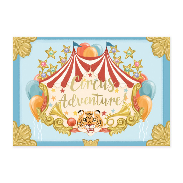 Circus elephant music box greeting card