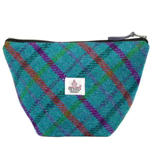 Turquoise checked Harris Tweed small cosmetic bag