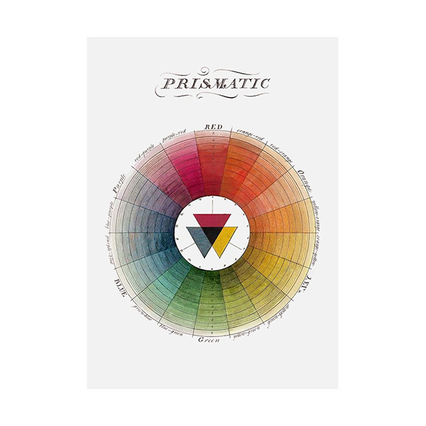 Colour theory wheel illustrated cotton tea towel