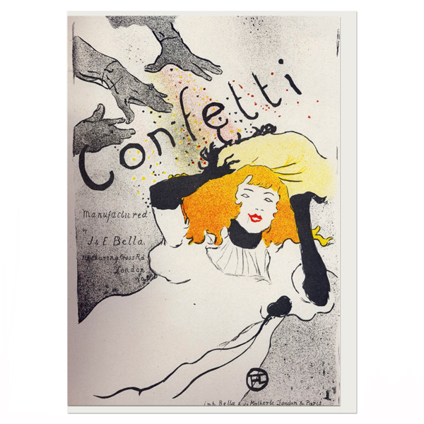 Confetti by Toulouse-Lautrec single greeting card