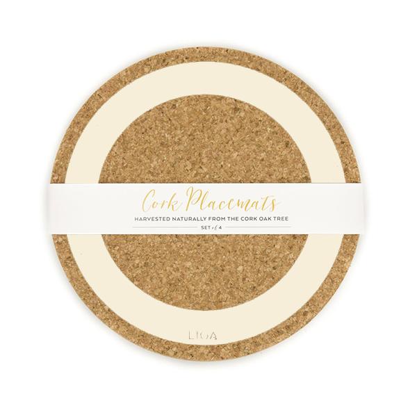 Cream earth cork placemat set