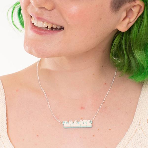 Create retro bubble font acrylic necklace