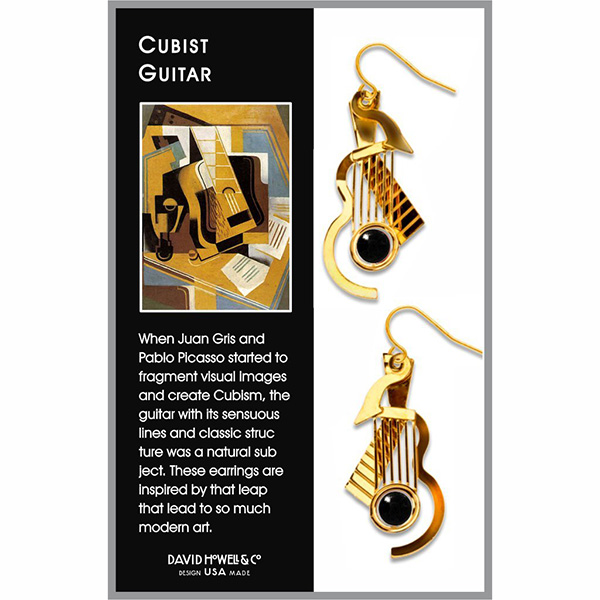 Cubist guitar inspired gold earrings