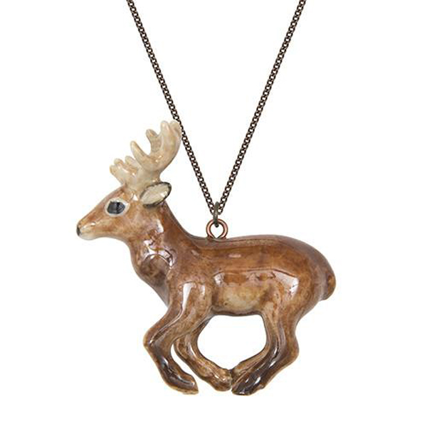 Running Stag porcelain necklace