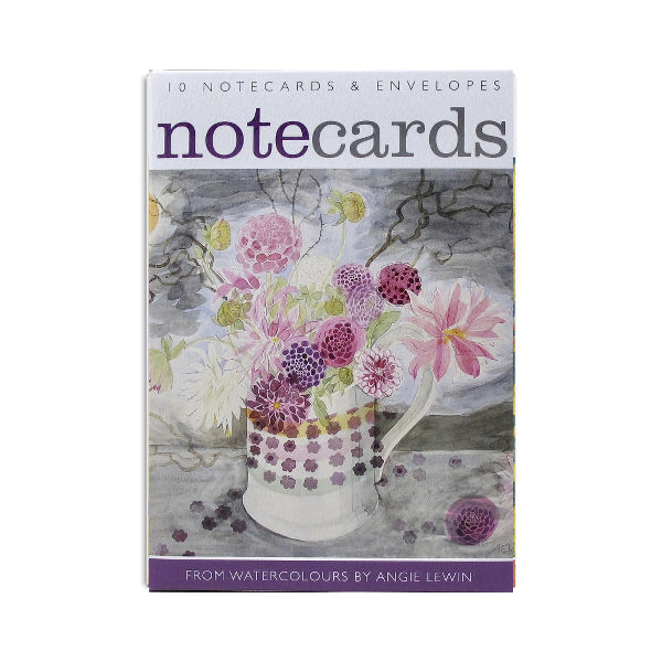 Dahlias and flowers and ferns notecard set