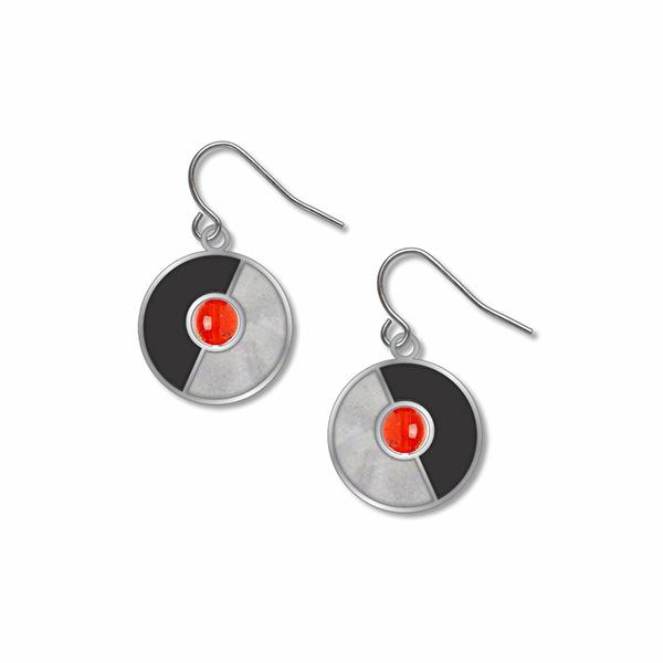 Delaunay inspired circular enamel and bead earrings