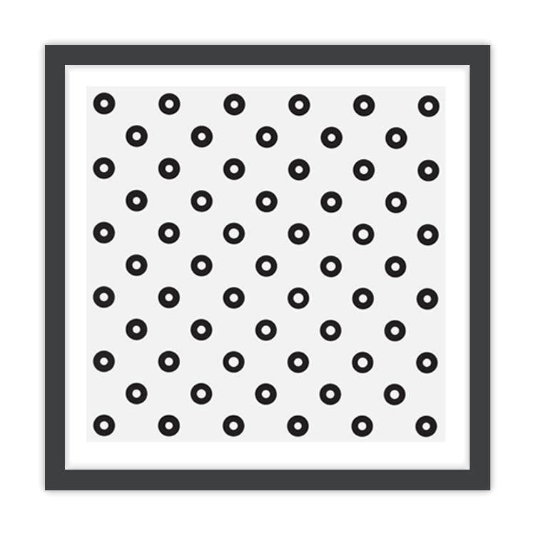 Dilated Centres by Bridget Riley framed print (black)