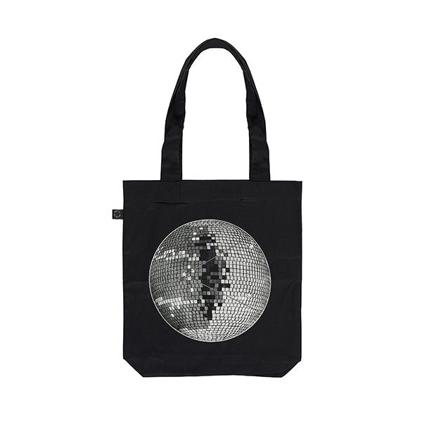 Disco ball reusable black cotton tote bag