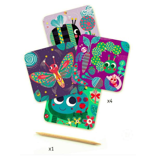 Djeco Bugs Scratch Cards Set