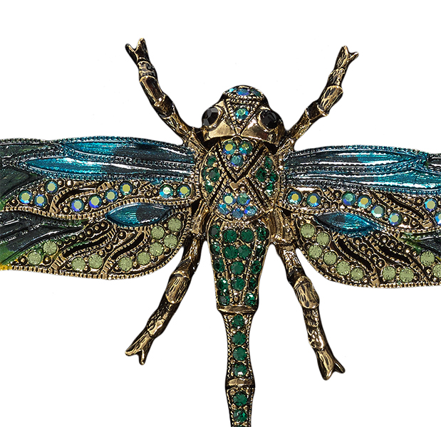 Hand painted Swarovski crystal green dragonfly brooch