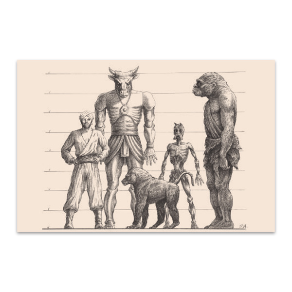 Drawing featuring Sinbad, Minaton, Baboon, Trog and Ghoul fridge magnet