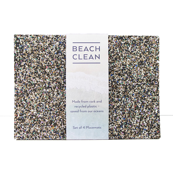 Eco beach clean cork placemat set