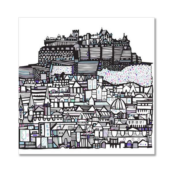 Edinburgh castle city greeting card