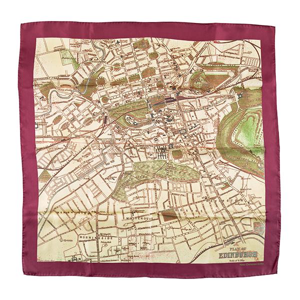 Edinburgh map burgundy and cream silk scarf