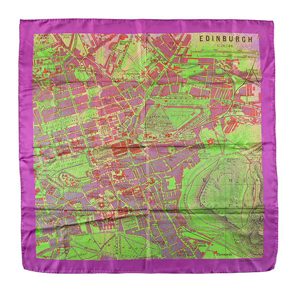Edinburgh map pink and green silk scarf