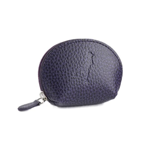 Embossed aubergine purple leather mini purse