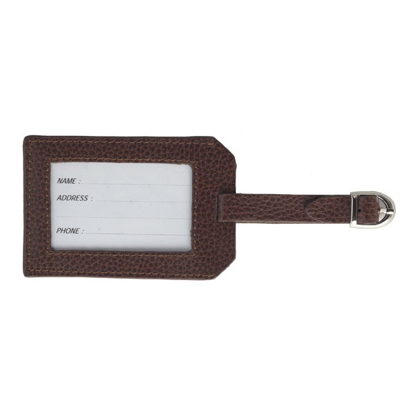 Embossed brown leather luggage tag