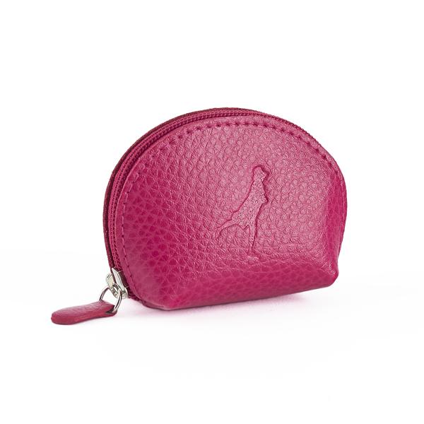 Embossed fuchsia pink leather mini purse
