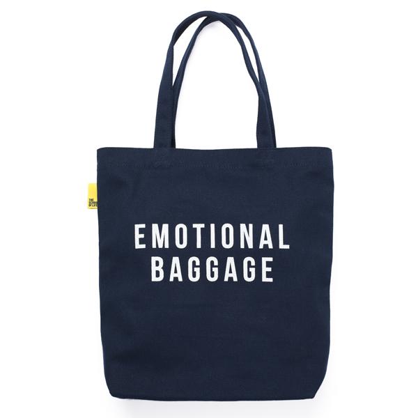 'Emotional Baggage' navy reusable canvas tote bag