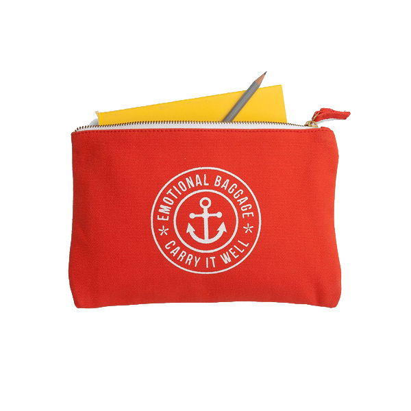 Emotional baggage orange canvas pouch