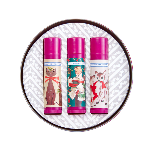 Heathcote and Ivory Vintage Christmas Lip Balm Trio Tin