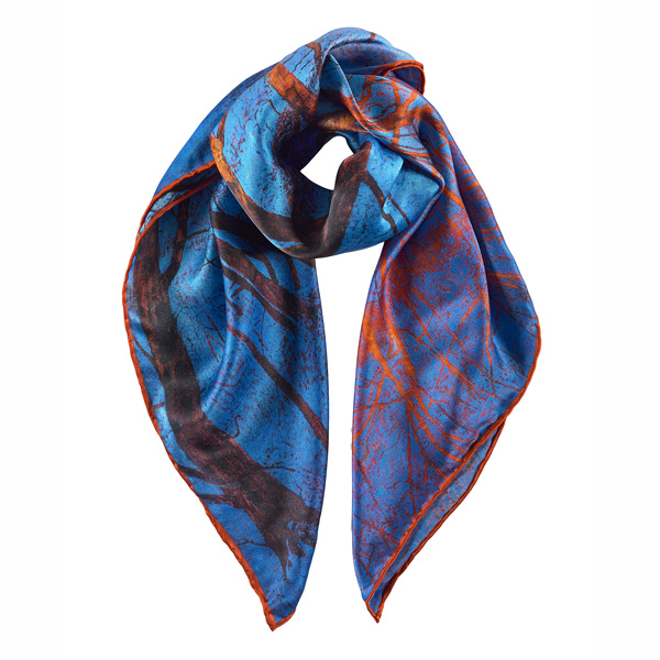 Blue Snow and Fiery Trees by Victoria Crowe silk scarf