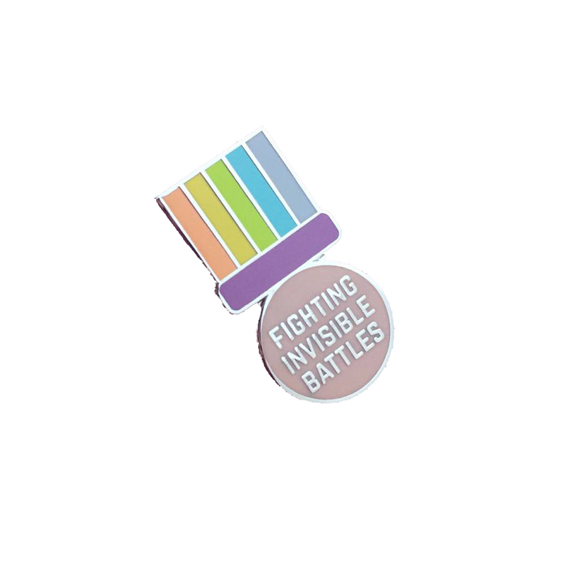 Fighting invisible battles medal enamel pin