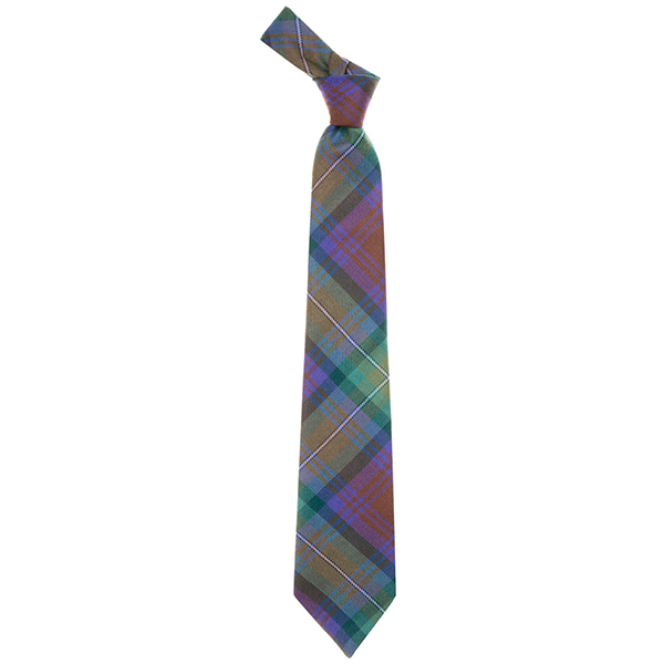 Fine wool Isle of Skye green tartan tie