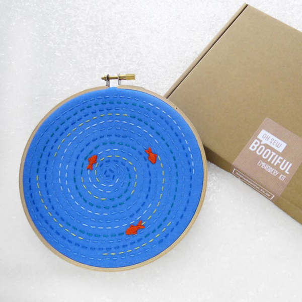 Fish pond hand embroidery kit