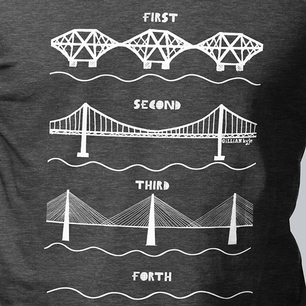 Forth bridges charcoal medium t-shirt