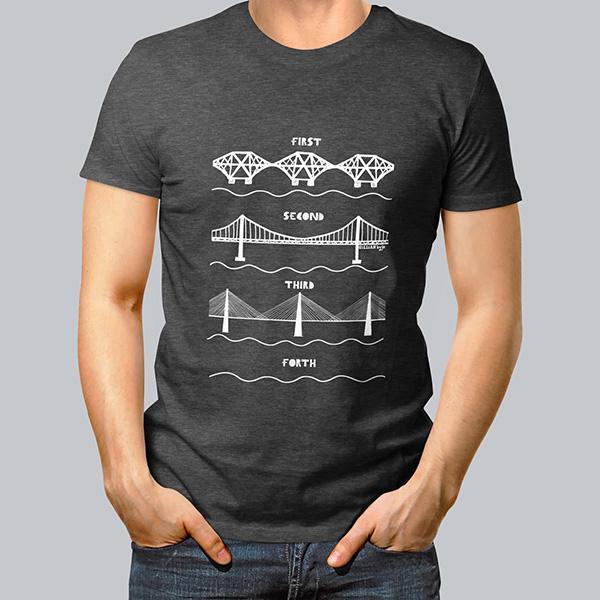 Forth bridges charcoal small t-shirt