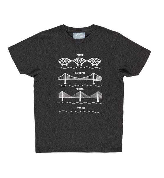 Forth bridges charcoal large t-shirt