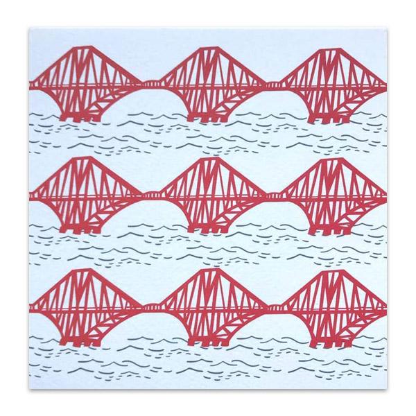 Forth rail bridge repeat pattern greeting card