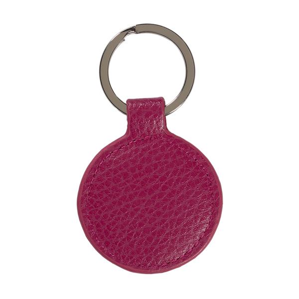 Fuchsia pink leather round key ring
