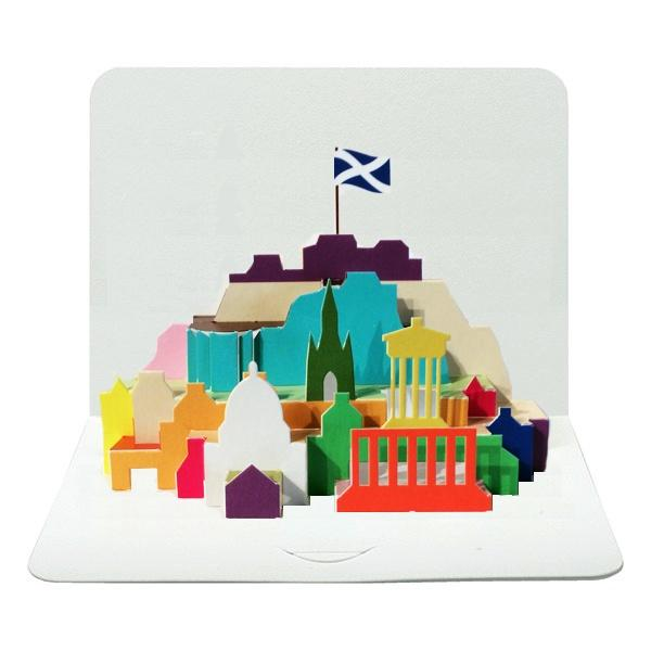 Edinburgh city skyline 3D pop out greeting card